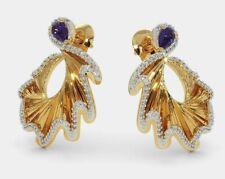 1 Ct Round Blue Sapphire & Sim Diamond Women Stud Earring 14K Yellow Gold FN 925