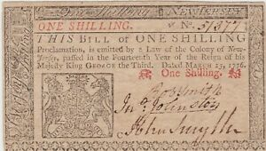 1776 NEW JERSEY, AU, 1 ONE SHILLING March 25, NJ-175 Colonial Currency Note