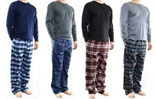 Men's Lounge Pajamas Set,Thermal Henley Top and Flannel Pants, Comfy Lifestyle