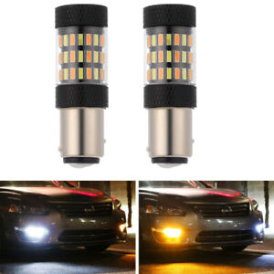 2x 1157 60-SMD Dual Color Switchback LED Turn Signal Daytime Running Light Bulbs