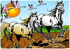 Tableau à colorier en velours - CHEVAUX DE CAMARGUE - Neuf