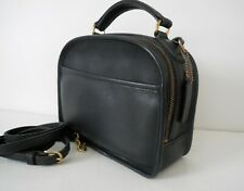 VINTAGE COACH NAVY LEATHER LUNCH BOX CROSSBODY BAG