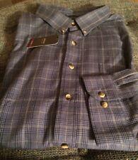 Nwt Arrow LS Dress Shirt Mens Big & Tall 4XL 21-21 1/2 Blue Plaid S8