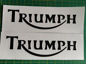 ****2 X TRIUMPH TANK STICKERS/DECALS  LARGE **Black/White  2 colour, cast vinyl