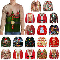 Christmas 3D Ugly Sweater Pullover Women Men Jumper Party Sweatshirt Blouse Tops