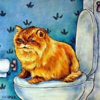 Chinchilla Persian Cat in the bathroom cat art tile coaster gift artwork