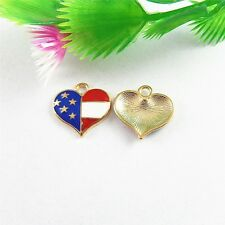 51532 Colorful Alloy Us Flag Heart Shaped Pendants Charms Findings Crafts 30pcs