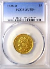 1838-D Classic Head Dahlonega $5 Gold, PCGS AU58+