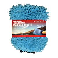 2 in 1 Ultrafine Fiber Chenille Glove Microfiber Car Wash Clean Sponge Mitt Blue
