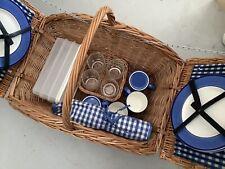 More details for 4 person double lidded picnic hamper basket blue gingham