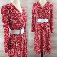 Vintage 70s red white botanical floral silhouette shirt dress hippie boho L XL