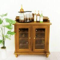 1/12 Dollhouse Miniature Living Room Furniture Wooden Wine Cabinet Walnut