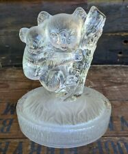 Vintage Art Glass Koala Bear with Baby Figurine Clear & Frosted Glass