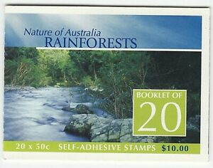 2003 'NATURE OF AUST - RAINFORESTS' - SELF ADHESIVE STAMP BOOKLET 20 x 50c MNH