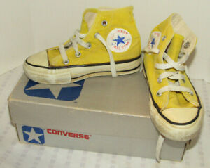 VINTAGE CHILD'S YELLOW CONVERSE CHUCK TAYLOR HI-TOP SHOES/SNEAKERS! W/BOX! 9.5