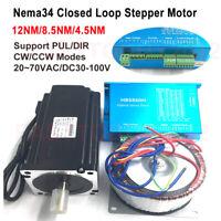 12NM/8.5NM/4.5NM DSP Closed Loop Stepper Motor Nema34+Drive+Power Supply Kit 60V