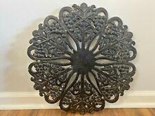 Vintage Ornate Cast Iron Grape Leaf Vine Pattern Table Top Wall Hanging