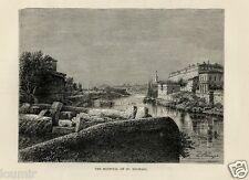 1875= ROMA = OSPEDALE SAN MICHELE = Rara Stampa Antica = Old Engraving