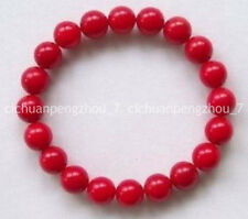 """Pretty 10MM Red Coral Beads Stretchy Bracelet 7.5"""" C3132"""