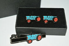 Fordson Major Blue Tractor Cufflinks & Tie Clip Set Enamel GIFT BOXED Weddings