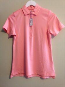 NWT Peter Millar Women's Golf Polo XS Corsn coral LS18EK00 club logo sleeve