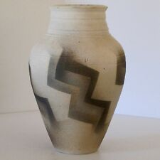 Art Deco Style Urn Vase in Unglazed Clay With Zig Zag Cubist Design