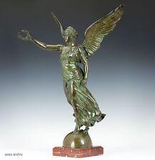 L. Honoré Marqueste Victoria alada Estatua De Bronce Barbedienne Escultura Nike