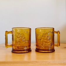 Vintage pair 2 hungry dumpty amber gold glass mug cup tiara 1970s 70s