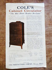 1930s Cole Manufacturing Cabinet Circulator De-luxe Heater Advertisement Chicago