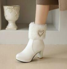 New Womens Fashion Faux Fur Pearl Beads Block Heel Bootie Ankle Boots Shoes
