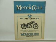 February 1949 THE MOTORCYCLE Magazine Matchless Clubman G3L L8626