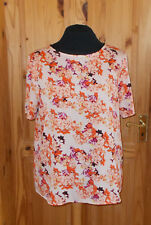 DEBENHAMS ivory off-white coral orange purple floral shortsleeve tunic top 20 48