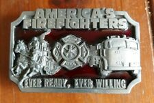 Vintage 1983 Siskiyou Co Enamel Pewter AMERICA'S FIREFIGHTERS Ever Ready Willing