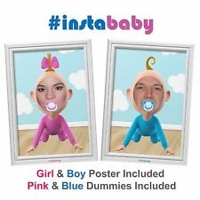 Baby shower game/prop - #instaBABY - boy & girl poster et 2 dummies inclus