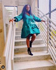 BNWT ZARA NEW VOLUMINOUS TAFFETA GREEN DRESS Size L Large Bloggers Sold Out