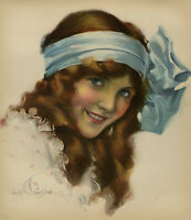 1910's Antique Pin-Up Print Early Rolf Armstrong Victorian Maiden Redhead w/ Bow