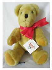 """CANTERBURY BEARS, GORGEOUS 15"""" HONEY PLUSH JOINTED BEAR, RED BOW AND LABEL"""