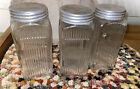 """3 Vintage CLEAR RIBBED HOOSIER GLASS Pantry JARS Metal Lids SPICE SET 5"""""""
