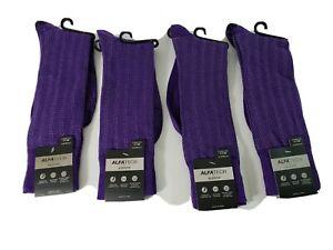 Alfani Men Dress Socks alfha tech size 10-14 moisture wicking comfort toe purple