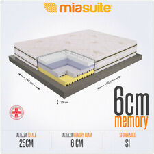 MATERASSO MATRIMONIALE 160X190 CM H 25 4 STRATI SFODERABILE TRASPIRANTE MELODY