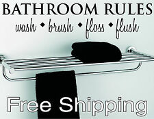 BATHROOM RULES wall vinyl sticker home decor inspirational art FREE SHIPPING !!!
