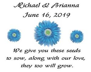 Wedding Favor Seed Packets Personalized Blue Daisies  Custom Favors Set of 100
