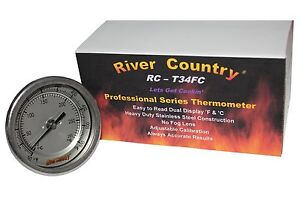 """3"""" RC-T34FC BBQ CHARCOAL GAS ELECTRIC GRILL SMOKER PIT THERMOMETER 4"""" STEM"""