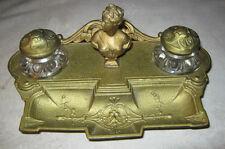 Antique Art Nouveau Cast Iron Glass Nude Lady Bust Statue Pen Tray Desk Inkwell