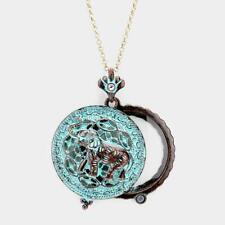 Women Necklace Pendant Opens Turquoise Batik Elephant Magnifying Glass Long