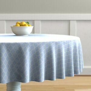 Round Tablecloth Blue Moroccan Tiny Ogees Cornflower Quatrefoil Cotton Sateen