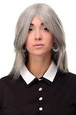 Perücke Damenperücke sehr lang Silbergrau Grau gestuft glatt Scheitel 75cm 3110
