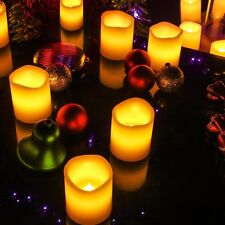 6 Ivory Votive Candles Remote Control&Timer Flameless Pillar LED candles In&Out