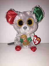"""TY MAC CHRISTMAS MOUSE 6"""" BEANIE BOOS-NEW, MINT TAG *SUPER CUTE*IN HAND*SHIP NOW"""