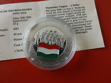 *Cook Island 1 Dollar 2001 Silber PP(500 -ca20g)*Fußball WM/Ungarn (Schub69)